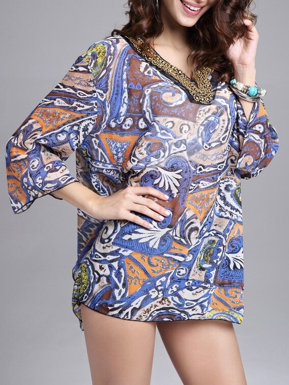 Multicolor V Neck Leaves Print Bead Embroidered Chiffon Top