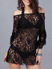 Black Boat Neck Ruffle Sleeve Sheer Lace Dress