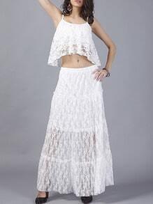 White Spaghetti Strap Lace Top With Skirt