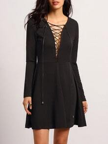 Black V Neck Lace Up Dress
