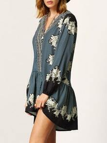 Black V Neck Vintage Print Dress