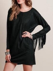 Black Round Neck Tassel Dress