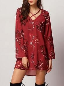 Red Long Sleeve V Neck Floral Dress
