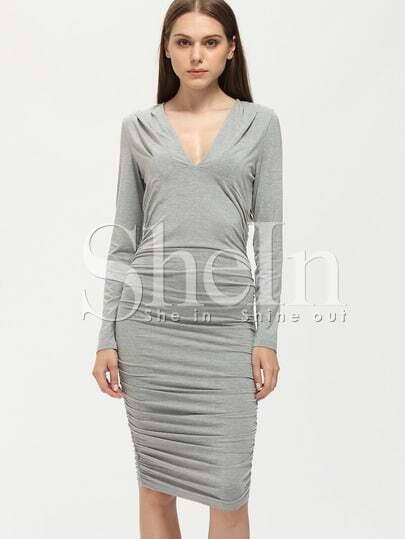 Grey Long Sleeve V Neck Ruched Dress
