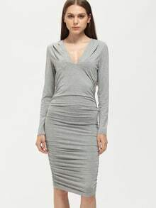 Grey Long Sleeve V Neck Ruched Dress