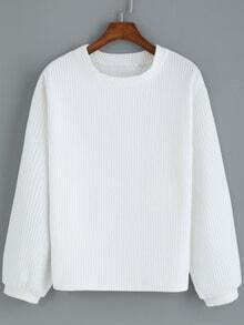 White Round Neck Casual Crop Sweatshirt