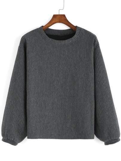 Grey Round Neck Casual Crop Sweatshirt