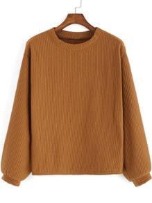 Khaki Round Neck Casual Crop Sweatshirt