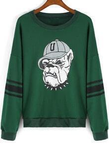Green Round Neck Dog Print Loose Sweatshirt