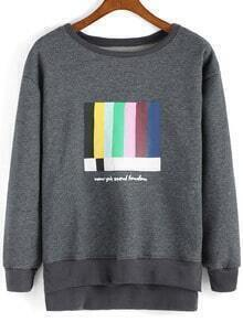 Grey Round Neck Color Print Dip Hem Sweatshirt