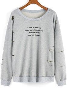 Grey Round Neck Letters Print Ripped Sweatshirt