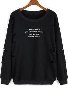 Black Round Neck Letters Print Ripped Sweatshirt