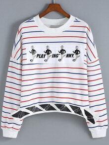 Multicolor Round Neck Striped Crop Sweatshirt