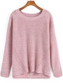 Pink Round Neck Split Knit Sweater
