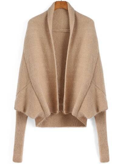 Khaki Batwing Sleeve Loose Crop Cardigan
