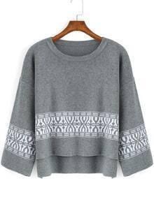 Grey Round Neck Tribal Print Dip Hem Sweater