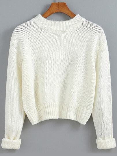 White Round Neck Crop Knit Sweater