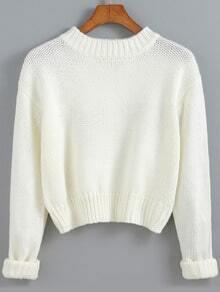 White Round Neck Crop Knit Sweater