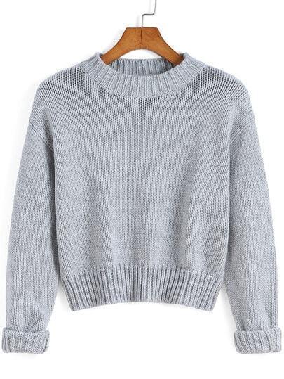 Grey Round Neck Crop Knit Sweater