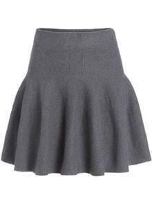 Grey A Line Knit Skirt
