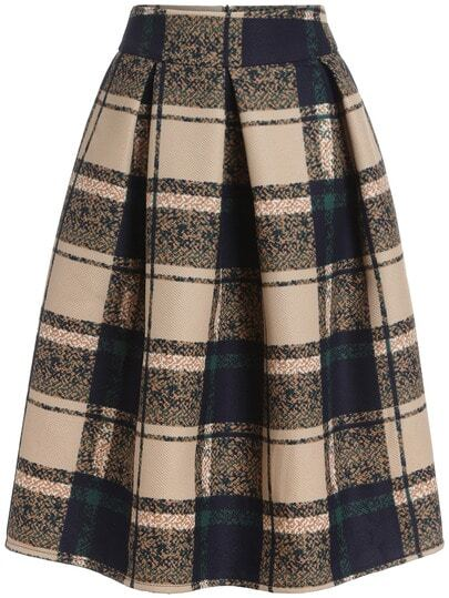 Khaki Vintage Plaid Midi Skirt