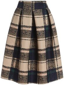 Khaki Vintage Plaid Midi Skirt