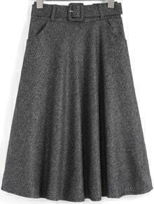 Grey Vintage Belt Midi Skirt