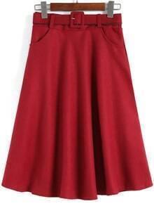 Red Vintage Belt Midi Skirt