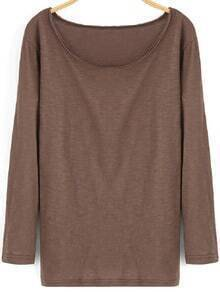 Coffee Round Neck Long Sleeve Loose T-Shirt