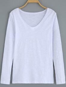 White V Neck Casual T-Shirt
