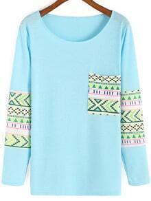 Sky Blue Round Neck Tribal Print T-Shirt