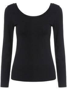 Black Round Neck Long Sleeve Slim T-Shirt