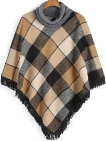 Khaki High Neck Plaid Tassel Cape