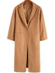 Khaki Lapel Pockets Casual Woolen Coat