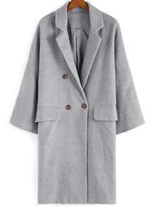 Grey Lapel Double Breasted Woolen Blazer