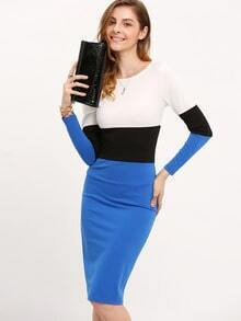 White Blue Long Sleeve Color Block Dress