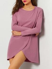 Purple Round Neck Casual Dress