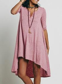 Dark Pink Round Neck Buttons High Low Dress