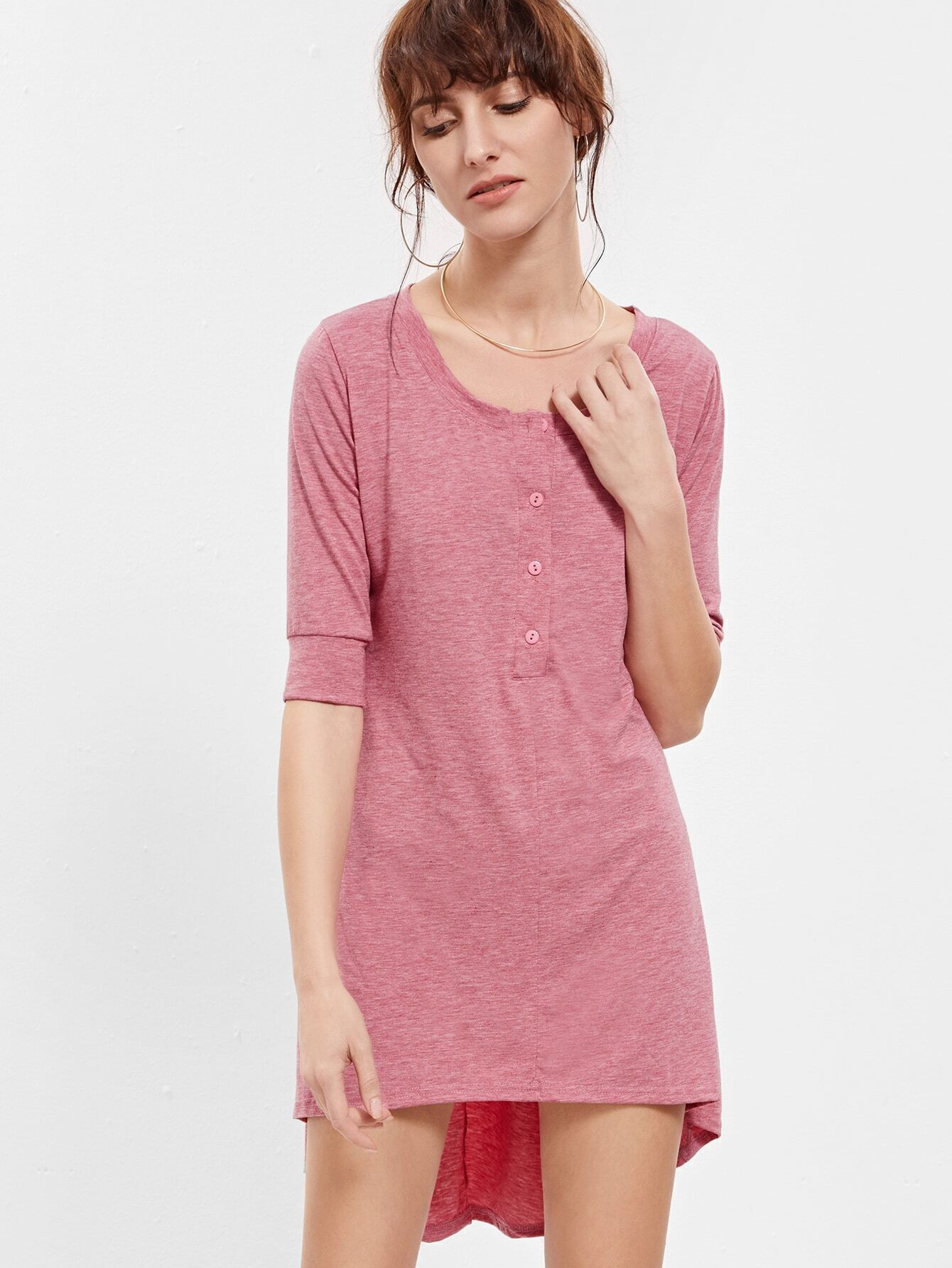 Red Round Neck Buttons High Low Dress
