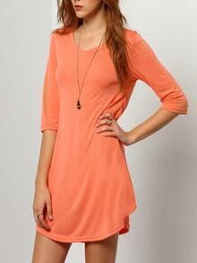 Orange Round Neck Slim Dress
