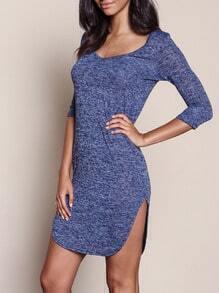 Purple Scoop Neck Split Slim Dress