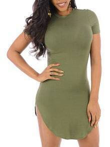Army Green Round Neck Slim Mini Dress
