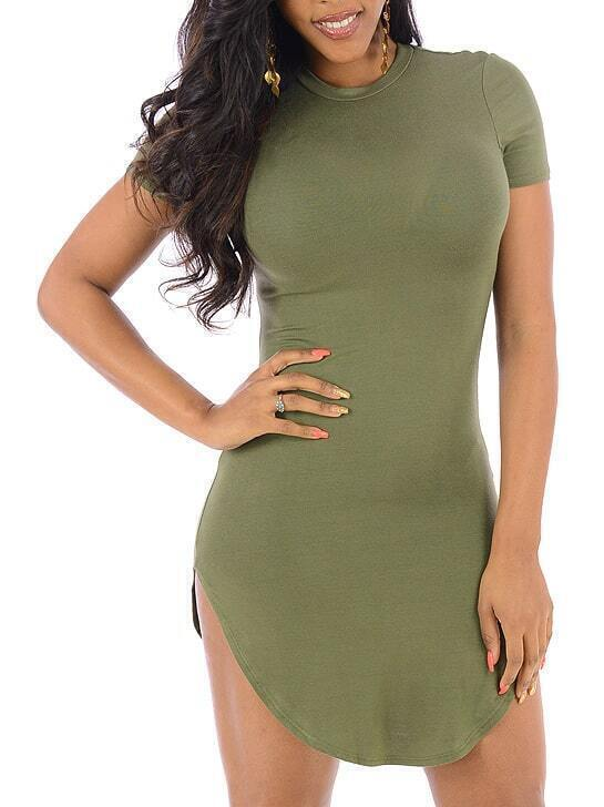 Army Green Round Neck Slim Mini Dress