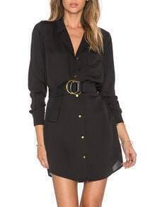Black Lapel Pocket Shirt Dress