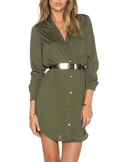 Green Lapel Pocket Shirt Dress