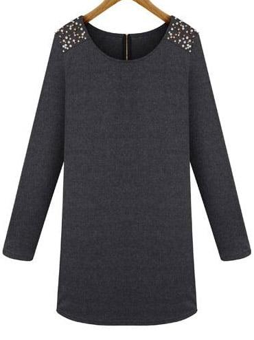 Grey Round Neck Bead Loose Dress