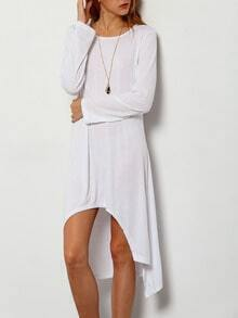 White Round Neck Long Sleeve High Low Dress