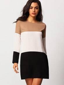Colour-block Long Sleeve Loose Dress
