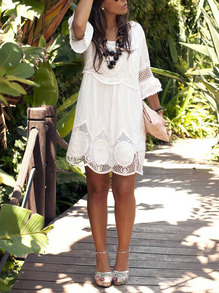 White Round Neck Hollow Lace Loose Dress