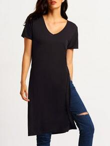 Black V Neck Split Side T-shirt